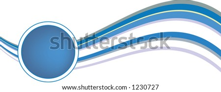 Blue 70's design wave with a space for text in the circle - stock vector