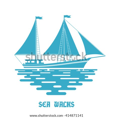 Blue sailing ship on a white background. Sailfish with red sail on the waves of the sea. Flat style. Color illustration of sea sailing ship on the water. Stock vector - stock vector