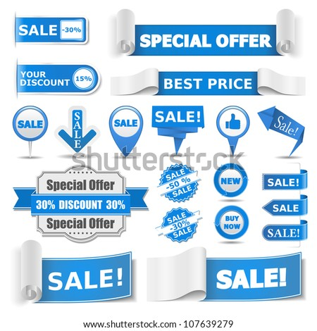 Blue sale banners, vector eps10 illustration - stock vector