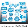 blue sale labels set - stock vector