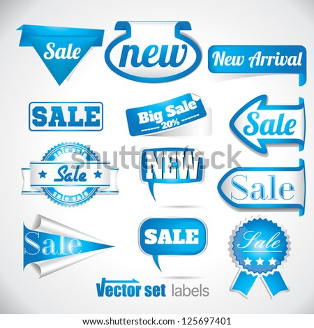 blue sale labels set