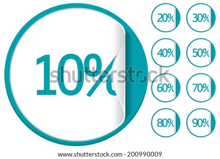 Blue sale sticker or label up to 10-90 percent vector - stock vector