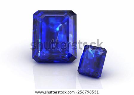 blue sapphire on white background.Vector illustration. - stock vector