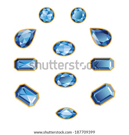 Blue sapphires different cut - round, drop, pear, oval, octagon and race. Brilliant three-dimensional jewelry on a white background. Isolated Objects