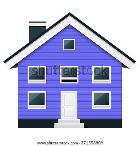 Blue scandinavian condominium - suburban townhouse - stock vector