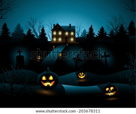 Blue scary Halloween haunted house background - stock vector