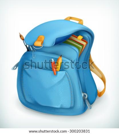 Blue school bag, vector icon - stock vector