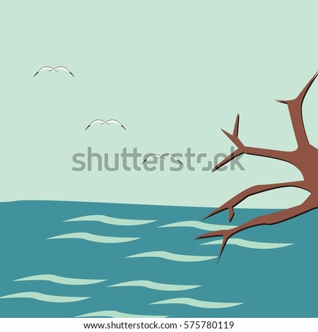 Blue sea behind a brown twig with a seagull flying over it, flat design paper design vector cartoon