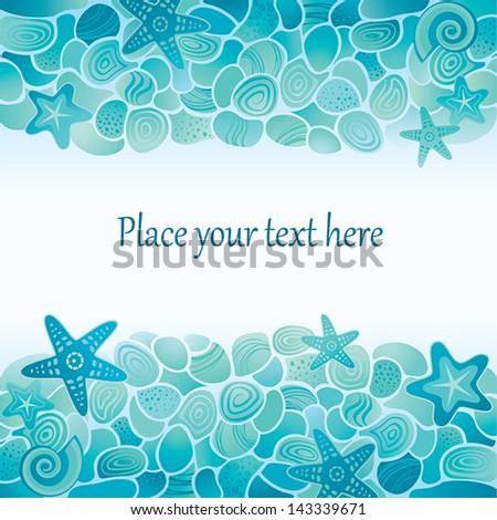 Blue Sea floor card with sea stones, starfish and seashells - stock vector