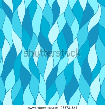 Blue sea seamless vector pattern, hand-drawn waves background. Can be used for prints, pattern fills, fabric texture, wallpapers or web-page backgrounds.