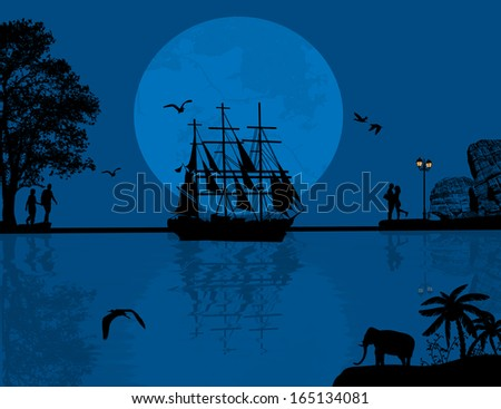 Blue sea sunset with boat and couple silhouettes, vector illustration - stock vector
