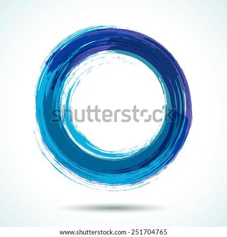 Blue sea themed brush painted watercolor circle. - stock vector