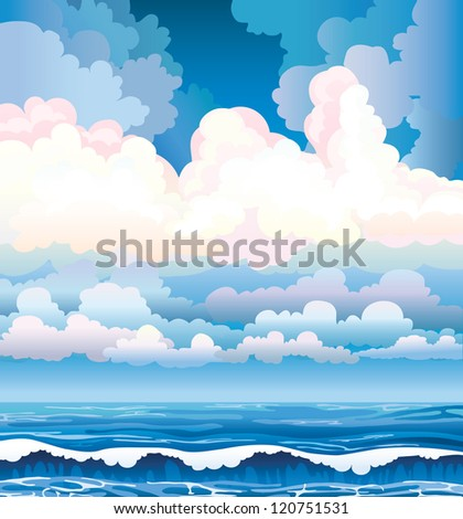 Blue sea with waves and cloudy stormy sky - stock vector