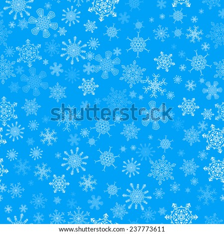 Blue seamless Christmas pattern with different snowflakes falling - stock vector