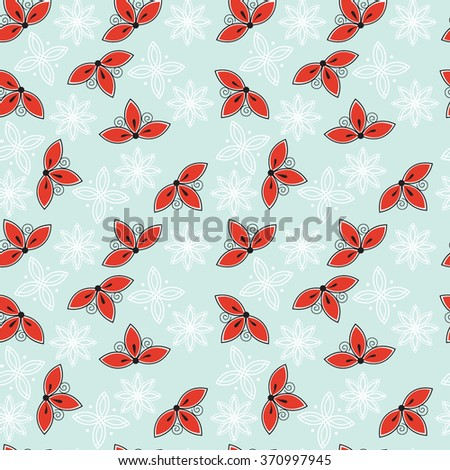 Blue seamless floral pattern - stock vector