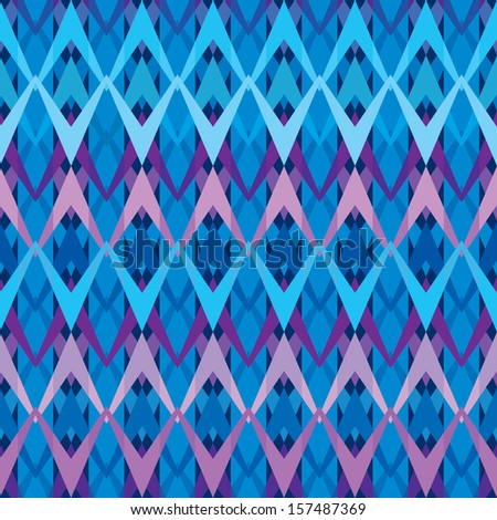 Blue seamless inlay of poly lines. Winter motifs. - stock vector