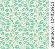 Blue seamless pattern on light backgrounds with leafs, flowers and berries - stock photo