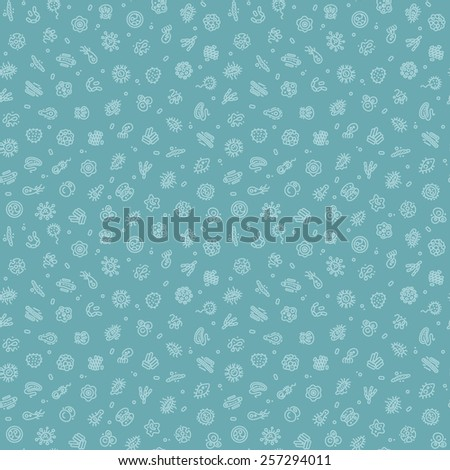 Blue Seamless Pattern with Bacteria and Germs for Medical Design. Editable pattern in swatches. - stock vector