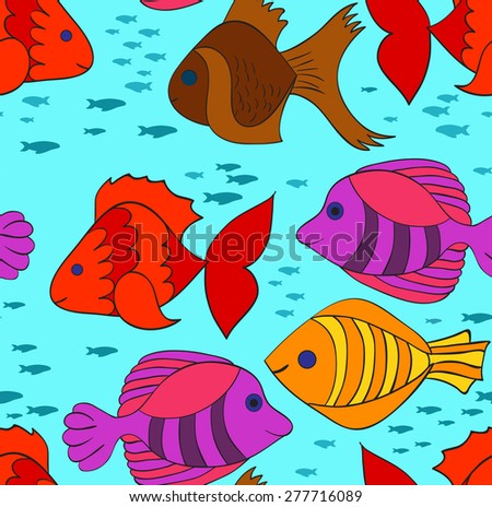 Blue seamless pattern with bright fishes - stock vector