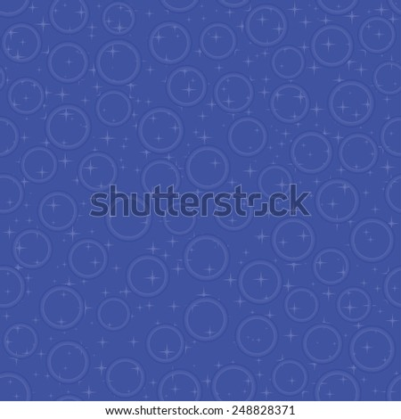 Blue seamless pattern with bubbles and stars, vector illustration - stock vector