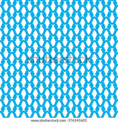 blue seamless pattern with white  fish. flat. vector.
