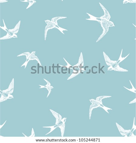 blue seamless pattern with white little swallows - stock vector