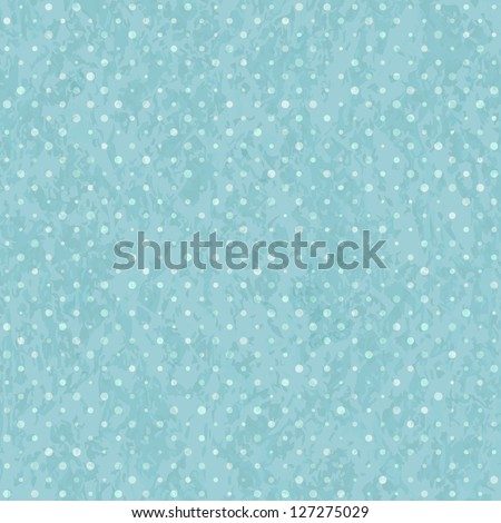 Blue Seamless Polka Dot Old Scratch Pattern. Retro Styled Vector Background - stock vector