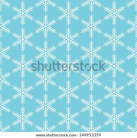 Blue seamless snowflake pattern - stock vector