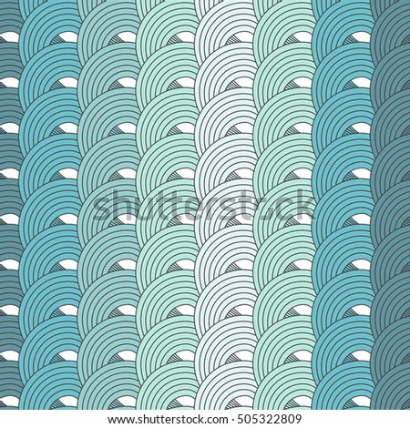 Blue seamless vector background of the loops. Abstract wavy seamless pattern can be used for surface textures, postcards, banners, posters and web page