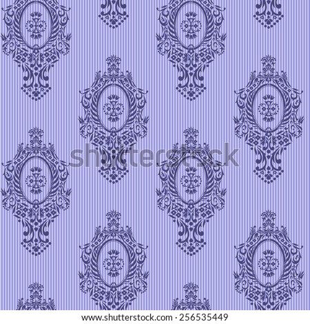 Blue seamless vector skyline damask background - stock vector