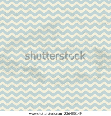 Blue seamless vintage horizontal small smooth waves pattern on grange paper