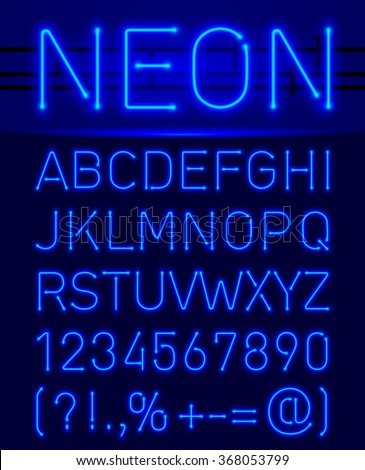 Blue set neon font and symbols isolated on black - stock vector