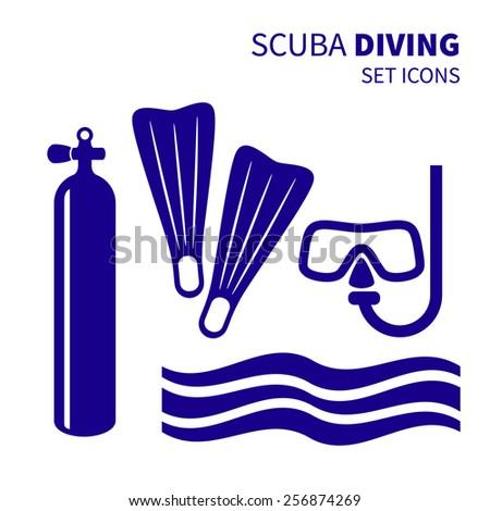Blue set scuba diving icons. Vector illustration. - stock vector
