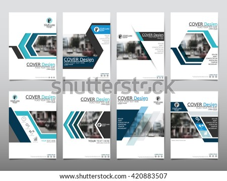 Blue set technology annual report brochure stock vector for Technology brochure templates