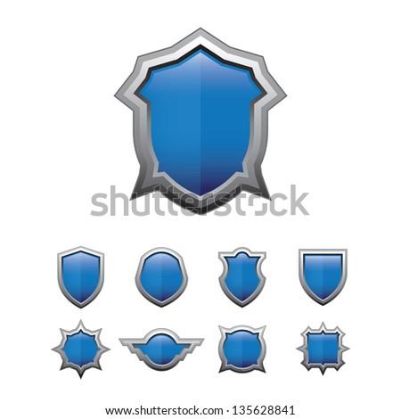 Blue Shield glossy set - stock vector