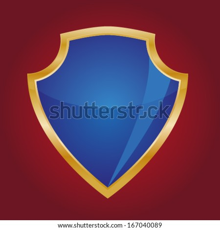 blue shield on a red background - stock vector
