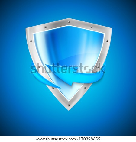 Blue shield with arrow - stock vector