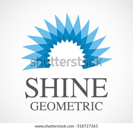 Blue shine circle of geometric abstract vector and logo design or template office and business icon of company or corporate identity symbol concept - stock vector