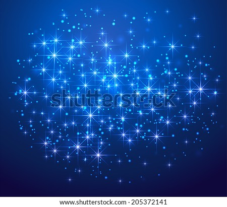 Blue shining background with stars and blurry lights, illustration. - stock vector