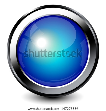 Blue shiny button with metallic elements - stock vector