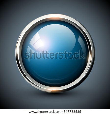 Blue shiny button with metallic elements, vector glossy design for website. - stock vector