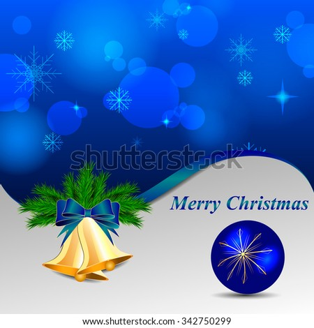 blue shiny christmas background with bells and blue bow and ball  - stock vector