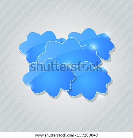 Blue Shiny Cloud Group Card. Vector Design
