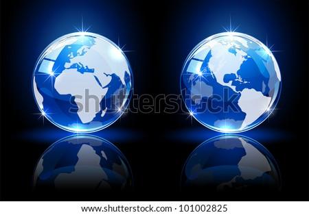 Blue shiny globes on dark background, illustration - stock vector
