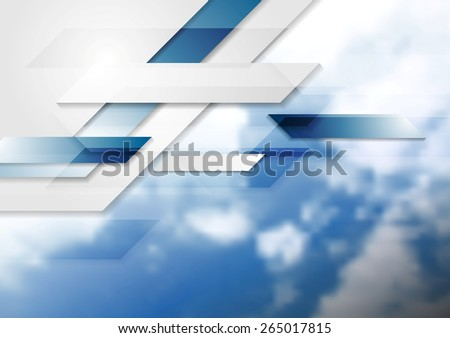 Blue shiny hi-tech background and cloudy sky. Vector design - stock vector