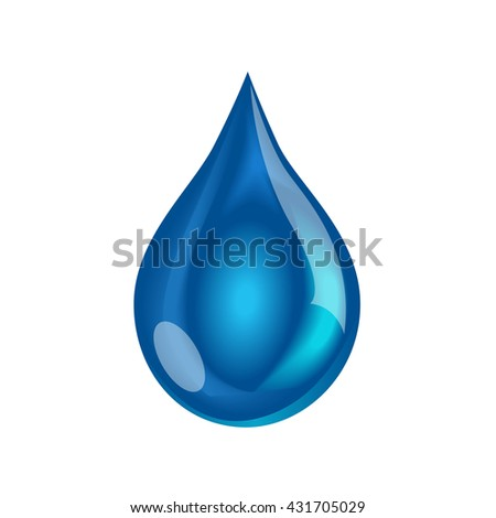 Blue shiny water drop. Vector illustration - stock vector