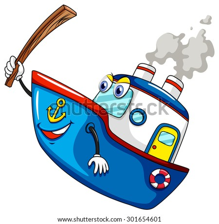 Blue ship holding wooden stick - stock vector