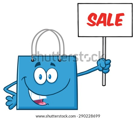 Blue Shopping Bag Cartoon Character Holding Up A Blank Sign With Text. Vector Illustration Isolated On White - stock vector