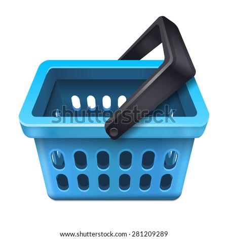 Blue shopping basket icon 10eps - stock vector