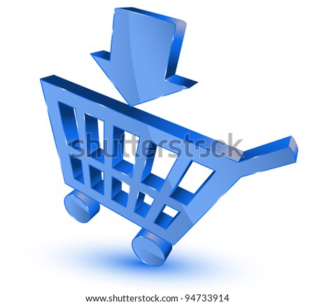 Blue shopping cart - stock vector
